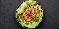 Salat mit Hackfleisch und Bacon